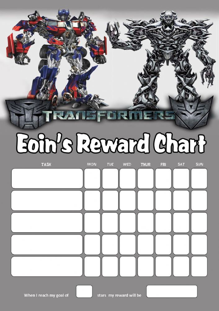Personalised Transformers Reward Chart adding photo option ...